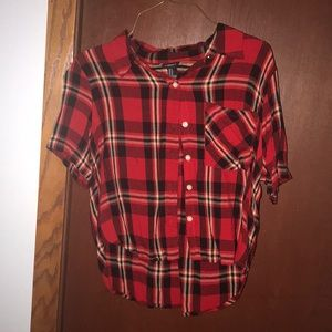 Forever 21 flannel shirt crop top